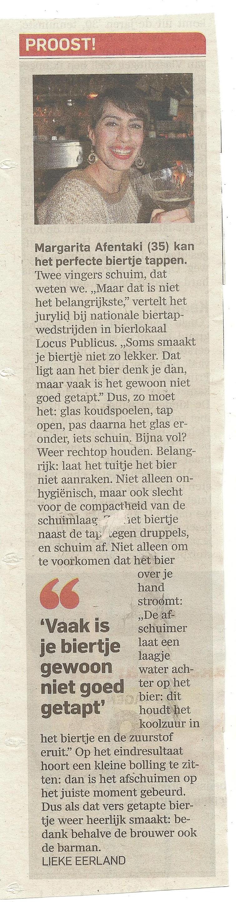 Nationale Biertapwedsteijd Locus Publicus - artikel Algemeen Dagblad